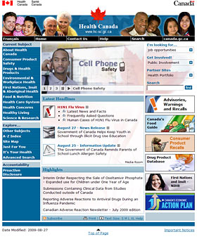Screenshot of Health Canada Home page